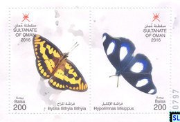 Oman Stamps 2016, Fauna, Butterflies, MS - Oman