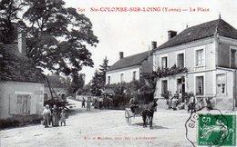 Ste-Colombe-sur-Loing. La Place. (Animée, Attelage) - Autres Communes