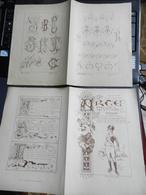 8g) ARTE MINUSCOLA LEZIONE DI DISEGNO 4 DICEMBRE 1898 DUE FOGLI CON VARIE IMMAGINI MASSA MARITTIMA - Libri, Riviste, Fumetti