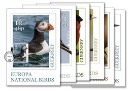 Guernsey 2019 Set 6 MC Maxi Cards  Europa Birds Puffin Linnet Bullfinch Goldfinch Starling Kingfisher - Non Classificati