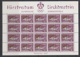 Liechtenstein 1972 Olympische Sommerspiele München / 10Rp. Bodenturnen Sheetlet ** Mnh (LI236B) - Nuevos