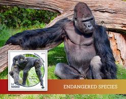 Sierra Leone. 2019 Endangered Species. (0218b)  OFFICIAL ISSUE - Gorilles