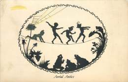 "MARGARET TARRANT - ELFIN SERIES - ""AERIAL ANTICS"" SILHOUETTE OLD POSTCARD #91405 - Other Illustrators"
