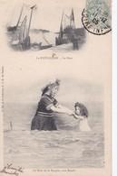 Carte 1905 Souvenir Du Pouliguen : Baigneurs , Bain De La Poupée,une Ronde ,et Le Port - Le Pouliguen