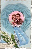 AMOUR DE COUPLE - AJOUTIS RELIEF PHOTO COULEUR - DENTELLE MUGUET RUBAN - TB ETAT - AVEC CORRESPONDANCE - - Couples