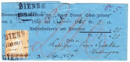 1859 Streifband Mit 20 Rp. Strubelmarke Vollrandig; Stempel Bienne Nach Wettingen - 1854-1862 Helvetia (Non-dentelés)