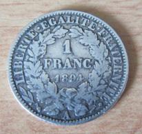France - Monnaie 1 Franc Cérès 1894 A - TTB - France