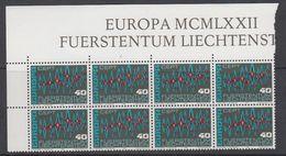 Europa Cept 1972 Liechtenstein 1v Bl Of 8 ** Mnh (LI236N) - 1972
