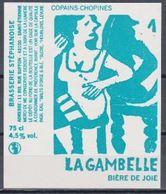 Etiquette (label) De Biere Française Copains-Chopines ( Beer, Cerveza, Birra, Bier); Micro-Brasserie Stéphanoise 42 - Bière