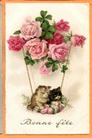 FR361, Belle Fantaisie, Chatons, Roses, Trèfle, Circulée Sous Enveloppe - Katzen