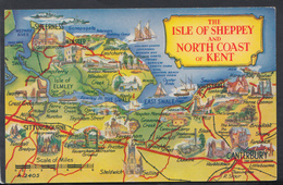 Maps Postcard - The Isle Of Sheppey And North Coast Of Kent  DC1993 - Landkaarten