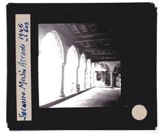 Oude Glasplaat (8,5 X 10cm).  SUISSE.    Locarno  Vieux Chateau. Arcades. 1946 - Glasplaten