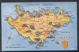 Maps Postcard - Map Of Guernsey, The Channel Islands  DC2005 - Cartes Géographiques