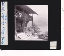 Oude Glasplaat (8,5 X 10cm).  RUTTLI  Suisse. LAC. + Chalet   1947 - Glasplaten