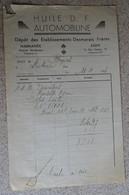 Ancienne Facture - Huile D F Automobiline - Desmarais - Marmande Agen - 1935 - France
