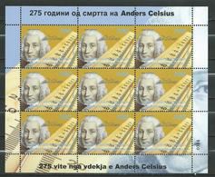 MACEDONIA 2019 - 250 Ann.the Death Of Anders Celsius.sciences.astronomy .M/S **MNH - Macédoine