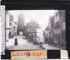 Oude Glasplaat (8,5 X 10cm).  Rothenburg An Tauber   1909. Carrefour - Plaques De Verre
