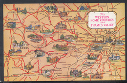 Maps Postcard - Map Of The Western Home Counties And Thames Valley  DC2013 - Landkaarten