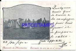 109936 URUGUAY MONTEVIDEO COSTUMES CARNEADA DE UN RES EN EL CAMPO CIRCULATED TO FRANCE POSTAL POSTCARD - Uruguay