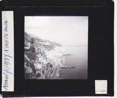 Oude Glasplaat (8,5 X 10cm).AMALFI.   La Mer, Vue Du Couvent   1937 - Plaques De Verre