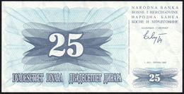 BOSNIA HERZEGOVINA - 25 Dinara 01.07.1992 UNC P.11 - Bosnia And Herzegovina