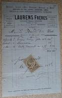 Ancienne Facture - Laurens Frères - Ancienne Maison Rouzier - Lustres Christofle - Coutellerie 1888 - Francia