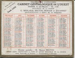 CALENDRIER 1925 - CABINET GENEALOGIQUE DE L'OUEST - - Calendarios