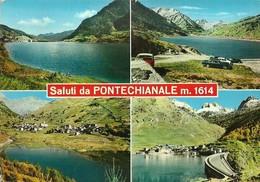 "3124 "" SALUTI DA PONTECHIANALE M. 1614 ""4 VEDUTE-AUTO ANNI '60  CART. POST. ORIG. SPED.1969 - Saluti Da.../ Gruss Aus..."