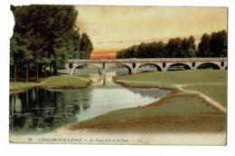 76 - Chalon Sur Saône - Le Faux Lit Et Le Pont - Circulé 1915, Colorisée, Coin Sup Gauche Grignoté - Chalon Sur Saone