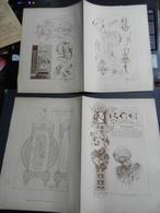 8g) ARTE MINUSCOLA LEZIONE DI DISEGNO 18 DICEMBRE 1898  DUE FOGLI CON VARIE IMMAGINI - Libri, Riviste, Fumetti