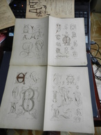 8g) ARTE MINUSCOLA LEZIONE DI DISEGNO 1898  N° 49 DUE FOGLI CON VARIE IMMAGINI - Libri, Riviste, Fumetti