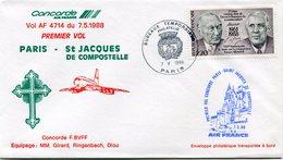 ENVELOPPE CONCORDE PREMIER VOL PARIS - ST JACQUES DE COMPOSTELLE DU 7-5-1988 - Concorde