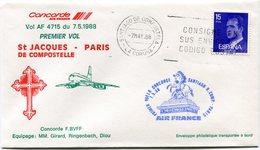 ENVELOPPE CONCORDE PREMIER VOL ST JACQUES DE COMPOSTELLE - PARIS DU 7-5-1988 - Concorde