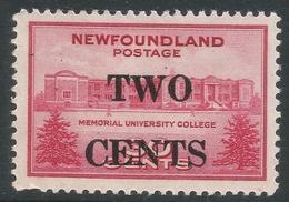 Newfoundland. 1946 2c On 30c MH. SG 292 - 1908-1947