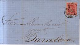 Año 1864 Edifil 64 Sello 4c Isabel II Carta Matasellos Rueda De Carreta 46 Tarragona  Y Tarragona 46 - 1850-68 Königreich: Isabella II.