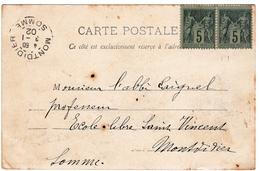 Carte Postale Montpellier Arc De Triomphe Hérault Montdidier Somme 1902 Paire Type Sage 5 Centimes - 1900-29 Blanc