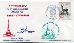 ENVELOPPE CONCORDE PREMIER VOL PARIS - STAVANGER DU 28-6-1988 - Concorde