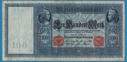 """DEUTSCHES REICH 100 MARK 07.02.1908 # A.0548282  P# 35 """"Flottenhunderter"""" - [ 2] 1871-1918 : German Empire"""