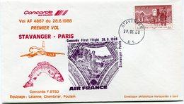 ENVELOPPE CONCORDE PREMIER VOL STAVANGER - PARIS DU 28-6-1988 - Concorde