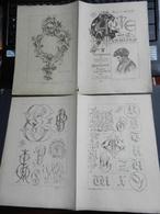 8g) ARTE MINUSCOLA LEZIONE DI DISEGNO 1897  N° 3 DUE FOGLI CON VARIE IMMAGINI - Libri, Riviste, Fumetti
