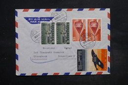 """SUISSE - Enveloppe De Saint Gallens Pour Bruxelles En 1947 , Vignette Avion """" Ligne Du Jura """"  - L 27082 - Marcophilie"""