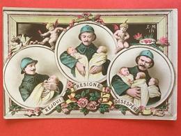 1917 - REJOUI - RESIGNE - DESESPERE - SOLDAT - 3 TRIPLE BEBES - SOLDAAT MET DRIELING - Humoristiques