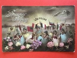 1917 - BONNES PAQUES - VICTOIRE - PASEN - DRAPEAUX - VLAGGEN - Humoristiques