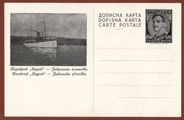"YUGOSLAVIA-CROATIA, STEAM SHIP ""ZAGREB"", 2nd EDITION ILLUSTRATED POSTAL CARD RRR!!! - Entiers Postaux"