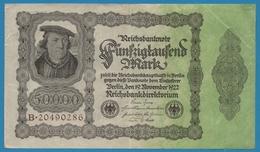 """DEUTSCHES REICH 50000 Mark 19.11.1922No B.20490286 P# 79 (""""Reichsdruck"""") Bürgermeister Brauweiler - [ 3] 1918-1933 : Weimar Republic"""