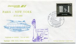 ENVELOPPE CONCORDE FIRST WORLD SUPERSONIC TOUR CONCORDE VOL PARIS - NEW YORK  DU 15-11-1986 - Concorde