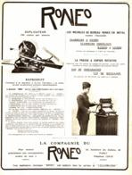 "PUB PHOTOCOPIEUSE "" RONEO "" 1908 ( 1 ) - Technical"