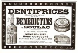 "PUB SAVON DENTIFRICE "" BENEDICTINS De SOULAC "" 1908 ( 4 ) - Other"