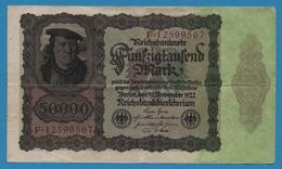 DEUTSCHES REICH 50000 Mark 19.11.1922No F.12599567 P# 80 Bürgermeister Brauweiler - [ 3] 1918-1933 : Weimar Republic