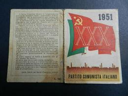 19899) TESSERA PCI PARTITO COMUNISTA ITALIANO 1951 - Vecchi Documenti